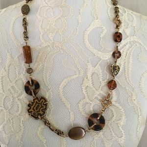 """Chico's Long 30-34"""" Necklace Statement Torti Shell"""